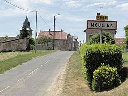 Moulins (Aisne) city limit sign.JPG