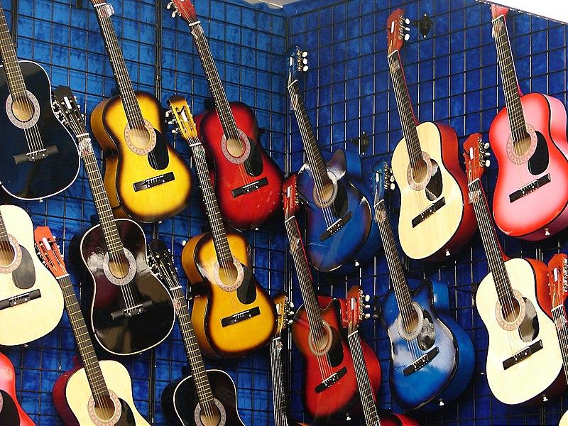 File:Multi coloured acoustic guitars.jpg