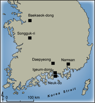 Mumun pottery period - Settlement sites of the Mumun Period that are mentioned in the text of this article.