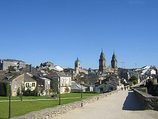 View from the Roman wall of Lugo and its Cathedral