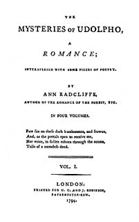 <i>The Mysteries of Udolpho</i> gothic novel by Ann Radcliffe