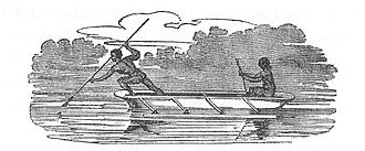 "Guugu Yimithirr people - ""Natives of Endeavour River in a canoe, fishing."" From Phillip Parker King's Survey. 1818."