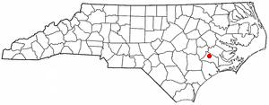 Vanceboro, North Carolina - Image: NC Map doton Vanceboro