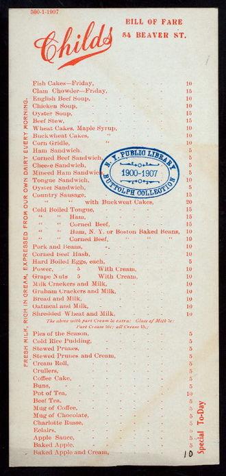 Childs Restaurants - A Childs menu, circa 1907