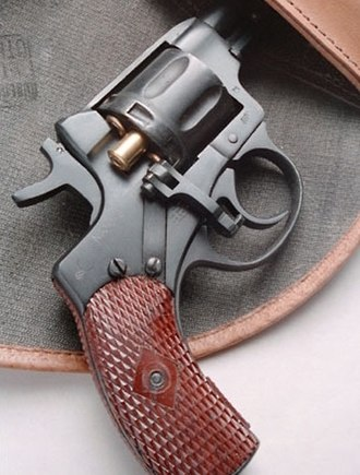 Nagant M1895 - Holstered Nagant with the gate open for loading.