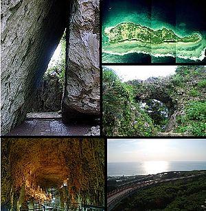 Nanjō - Clockwise from top left: Utaki Purified, Kudaka Island, Site of Tamagusuku Castle, Nirai-kanai Bridge, Gyokusen Cave