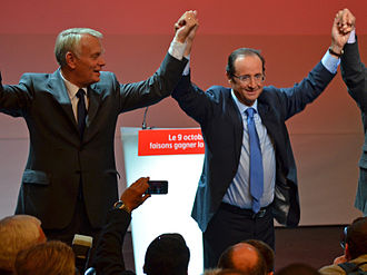 Jean-Marc Ayrault - Ayrault during a meeting in his constituency in Nantes with François Hollande