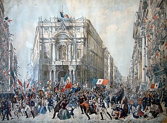 Nationalism - People cheering as Giuseppe Garibaldi enters Naples in 1860
