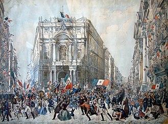 Nationalism - People cheering as Giuseppe Garibaldi enters Naples in 1860