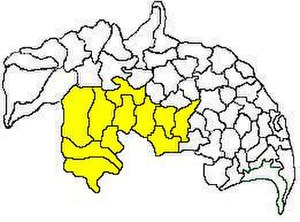Narasaraopet revenue division - Mandals in Narasaraopet revenue division (in yellow) of Guntur district