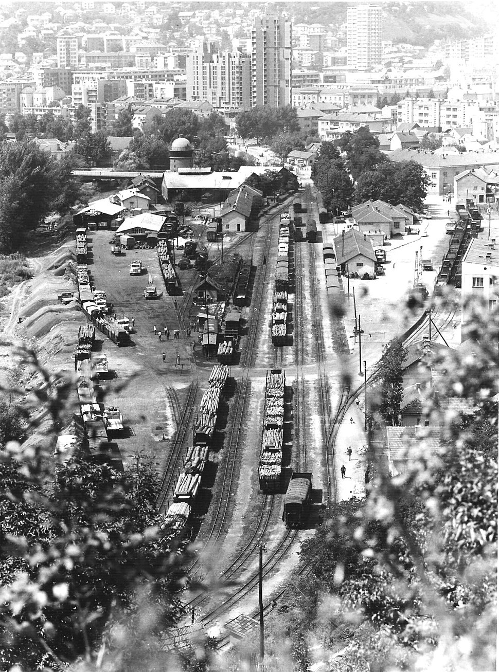Narrow gauge train station in Titovo Užice, 31 July 1970