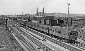 Neasden tube station - Up London Transport Metropolitan line electric train in 1959