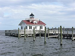 Reconstructed Roanoke Marshes Light on the waterfront of Manteo