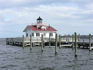Manteo, North Carolina - Reconstructed Roanoke Marshes Light on the waterfront of Manteo