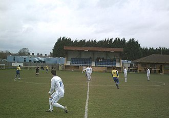 Newmarket Town F.C. - Cricket Field Road's main stand in 2008