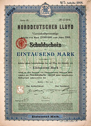 Norddeutscher Lloyd - Bond of the Norddeutscher Lloyd, issued 1. March 1908