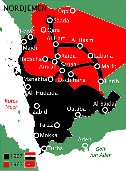 Situation in North Yemen 1967 between Republicans (black) and Zaidi Royalists (red) North Yemen Civil War 1967.jpg