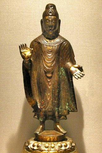 Northern and Southern dynasties - Northern Wei Buddha Maitreya gilt-bronze figurine, 443