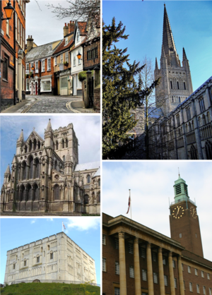 Clockwise from top left: Princes Street, Norwich Cathedral, Norwich City Hall, Norwich Castle, St John the Baptist Cathedral