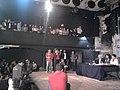 Noura Borsali anime un débat entre Rached Ghannouchi et Neila Sellini, organisé par le Forum Citoyens indépendants et le Club Sans Parti pour une Patrie à l'Espace al-Hamra. Tunis, le 14 avril 2011.jpg