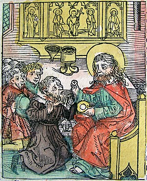 Antipope Gregory VIII - Gregory VIII surrenders to Pope Calixtus II. Illustration from the Nuremberg Chronicle (1493)
