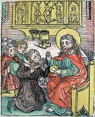Antipope Gregory VIII - Gregory VIII surrenders to Pope Calixtus II. Illustration from the Nuremberg Chronicle (1493)