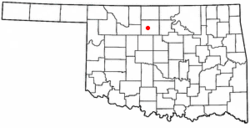 Location in Garfield County and the state of اکلاهما.