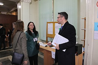 Election monitoring - OSCE observers monitoring a polling station in Georgia in 2018.