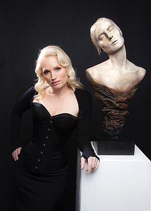 Oceana Rain Stuart - Oceana Rain Stuart with her Eternal Bliss sculpture