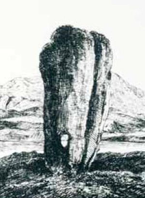 Standing Stones of Stenness - An 18th century engraving of the Odin Stone