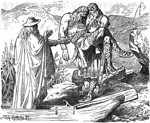 "Sinfjötli - ""Odin takes the corpse of Sinfjötli"" (1883) by Johannes Gehrts."