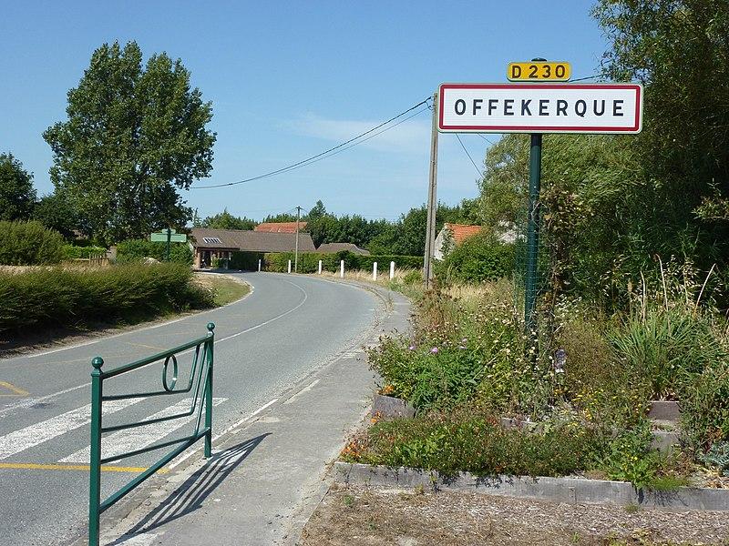 Offekerque (Pas-de-Calais) city limit sign