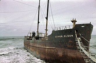 SS Point Bonita (1918) - Wreck of the Oliver Olson at Bandon, OR, South Jetty. Photo by Howard O. Wahlen spring 1954.