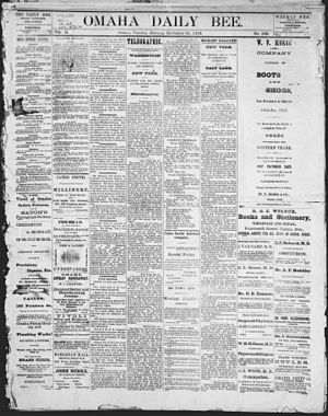 Omaha Daily Bee - Title page of the first issue, December 31, 1901