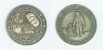 Operation Provide Comfort - Commemorative medallion issued to some participating U.S. soldiers