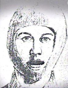 Sketch of a man's head, covered except for his face