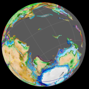 The first ocean floor formed between India and Antarctica c. 120 Ma (left).  The Kerguelen LIP began to form the Ninety East ridge c. 80 Ma (centre).  The Indian and Australian plates merged c. 40 Ma (right).
