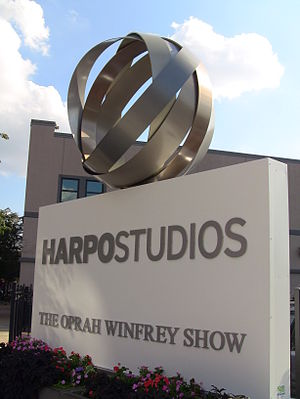 Oprah Winfrey: Harpo Studios new logo and sign...