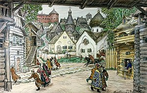 "Massacre of Novgorod - Apollinary Vasnetsov's 1911 painting ""The street in the town"" : people fleeing at the arrival of the Oprichniki (inspired by the opera The Oprichnik by Tchaikovsky)"