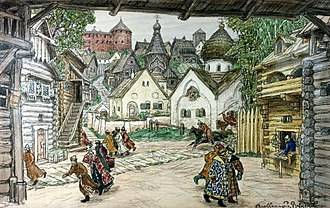 "Oprichnina - ""The street in the town"": people fleeing at the arrival of the Oprichniki, inspired by the opera  The Oprichnik by Tchaikovsky,  painted by Apollinary Vasnetsov in 1911"