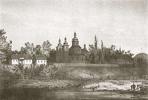 Vaišvilkas - Monastery that was presumably founded by Vaišvilkas (painting by Napoleon Orda)