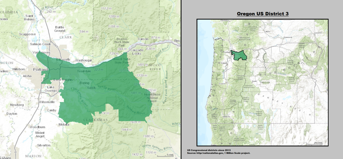 Oregons Rd Congressional District Wikipedia - Us house districts oregon map
