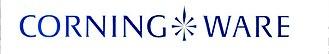 CorningWare - Original Corning Ware logotype. The stylized burner icon indicates pieces that are range-top safe.