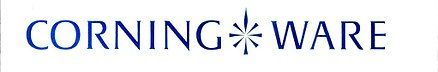 Original Corning Ware logotype. The stylized burner icon indicates pieces that are range-top safe. Original Corning Ware logotype.jpg