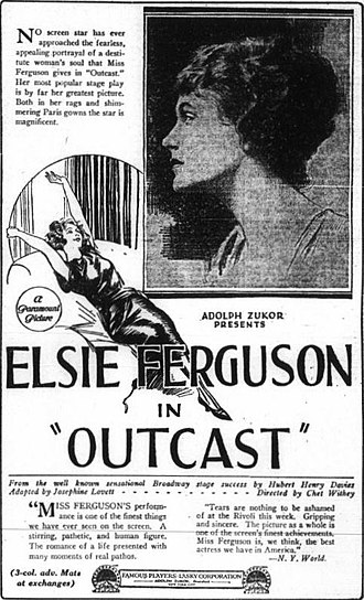 Outcast (1922 film) - newspaper advertisement