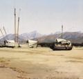 P. C. Skovgaard - Optrukne både på stranden ved Serravezza - 1854.png