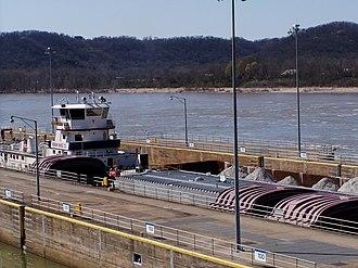 Markland Locks and Dam - Steven J Mason (Ingram Barge Co.) locking through.