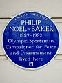 PHILIP NOEL-BAKER 1889-1982 Olympic Sportsman Campaigner for Peace and Disarmament lived here.JPG