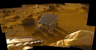 "Sojourner (rover) - The Sol 2 ""insurance panorama"" of Sojourner, taken on 530,600, and 750 nm filters"
