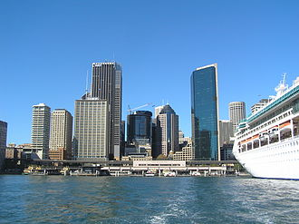Circular Quay - View of Circular Quay from Sydney Cove with ship berthed at the Overseas Passenger Terminal